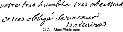vagy, aláírás, (1694-1778), voltaire, francois-marie, engraving., szüret, arouet