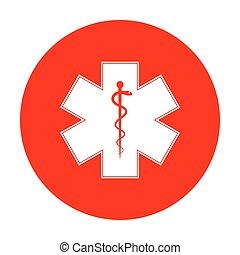 vagy, csillag, szükséghelyzet, jelkép, karika, Élet, fehér, orvosi, piros, ikon