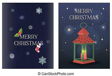 vagy, csillaggal díszít, style., foglalatok, köszöntések, lakás, karácsony, értékesítések, menstruáció, cukorka, lanterns., romantikus, garlands., köszönés, elegáns, ads., sötét háttér, kártya, ábra, poszter, kék, sleigh, körvonal, háló, gyertya, buli