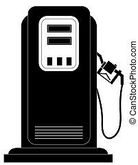 vagy, fekete, üzemanyagpumpa, gáz, árnykép