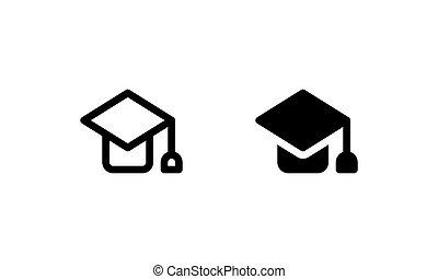 vagy, fokozatokra osztás, tudás, kalap, ikon, előad, oktatás