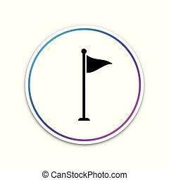 vagy, golf, háttér., elszigetelt, ábra, button., felszerelés, lobogó, vektor, accessory., karika, fehér, ikon