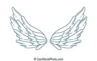 vagy, kasfogó, széles, szeret, fehér, elszigetelt, vallás, vektor, tollazat, románc, madár, angyal, pár, gyönyörű, monochrom, jelkép, szerelmi ügy, szárny, illustration., háttér., nyílik