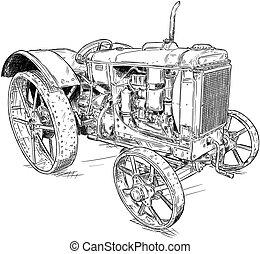 vagy, komikus, öreg mód, rajz, karikatúra, szüret, traktor