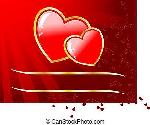 vagy, nap, hely, üres, -e, kártya, text., esküvő, vektor, valentine's