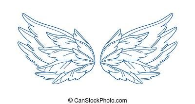 vagy, paradicsom, kasfogó, széles, fehér, jámbor, elszigetelt, vektor, tollazat, madár, angyal, pár, ámor, ég, monochrom, nagyszerű, jelkép, szárny, illustration., háttér., nyílik