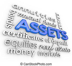 vagyontárgyak, szó, kollázs, készletek, vámőrizet, befektetések, pénz, vagyon, becsül