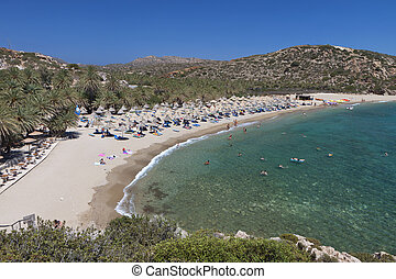 Vai beach at Crete island - Vai palmtrees bay and beach at...