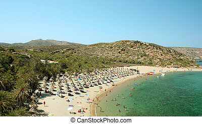 Vai beach from the south - The famous palm forest and beach...