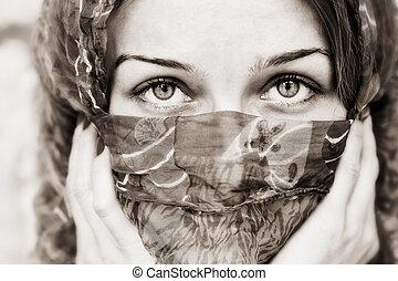 vail, ögon, kvinna, bak, sensuell