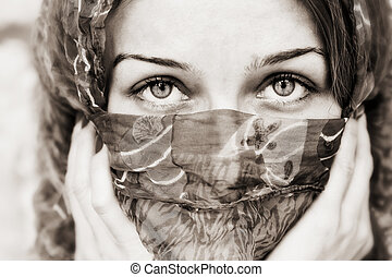 vail, oczy, kobieta, za, czuciowy