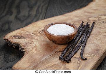 vainilla, azúcar, madera, tabla, whisky americano, vainas,...
