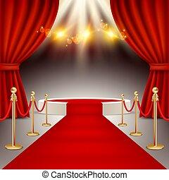 vainqueurs, illustration, réaliste, podium, vecteur, moquette rouge