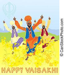vaisakhi harvest festival - an illustration of three punjabi...