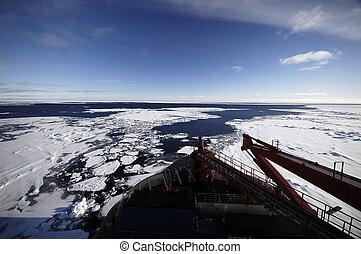 vaisseau, antarctique, recherche