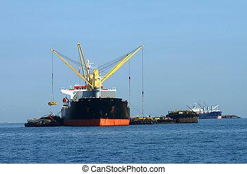 vaisseau, cargaison, grue, fonctionnement, golfe