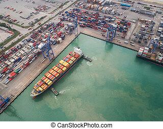 vaisseau, importation, port, transport, logistique