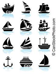 vaisseau, noir, ensemble, icône, nautique