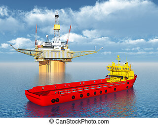 vaisseau, plate-forme, fourniture