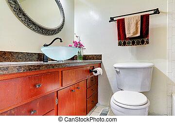 vaisseau, salle bains, vanité, sombrer, cabinet