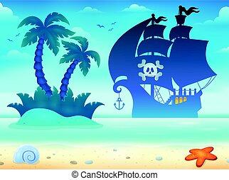 vaisseau, silhouette, pirate