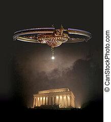 vaisseau spatial, au-dessus, lincoln, dc, washington, ...