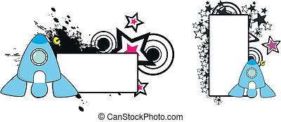 vaisseau spatial, copyspace1, dessin animé