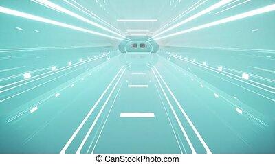 vaisseau spatial, couloir, réalité virtuelle, intérieur, ...