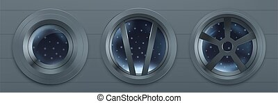vaisseau spatial, fenetres, métal, hublot, rond