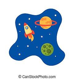 vaisseau spatial, fusée, style, lanceur, plat, scène, univers, icône
