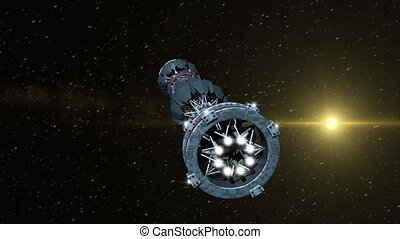 vaisseau spatial, futuriste, warpdrive