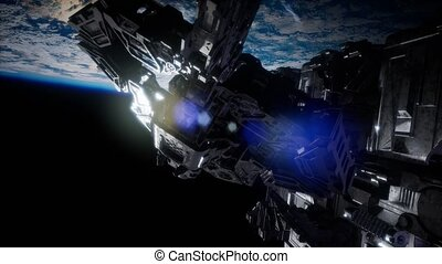 vaisseau spatial, nearing, armada, étranger, la terre