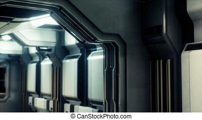 vaisseau spatial, tunnel, sci-fi, couloir, ou