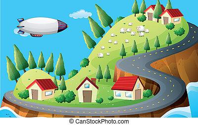 vaisseau spatial, village
