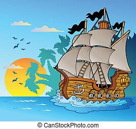 vaisseau, vieux, silhouette, île