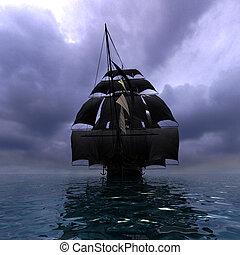 vaisseau, voile, mer