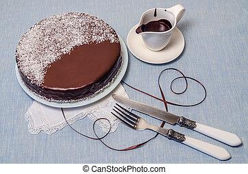 vaisselle, fête, glaçage, chocolat, table, gâteau, servi, blanc