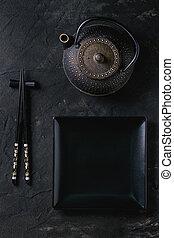 vaisselle, noir, sur, asiatique