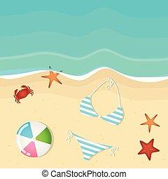 vakantie, achtergrond, bal, bikini, zeester, zomer, krab, strand