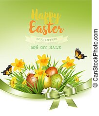 vakantie, achtergrond, kleurrijke, lente, eitjes, grass., vector., bloemen, pasen
