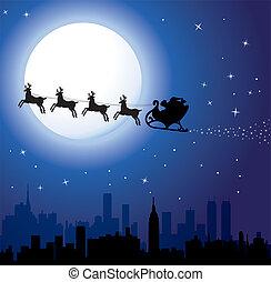 vakantie, achtergrond, met, kerstman