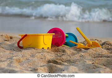 vakantie, beeld, van, children\'s, zet op het strand speelgoed, op het zand