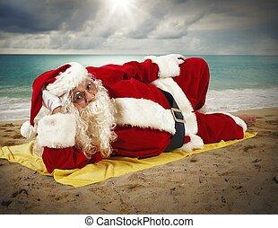 vakantie, claus, strand, kerstman