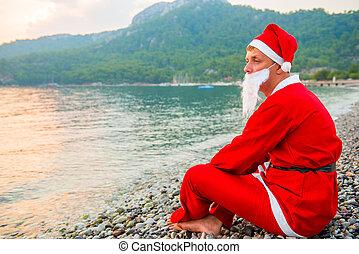 vakantie, claus, zee, kerstman