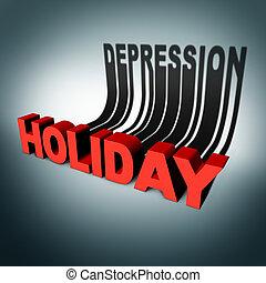 vakantie, concept, depressie