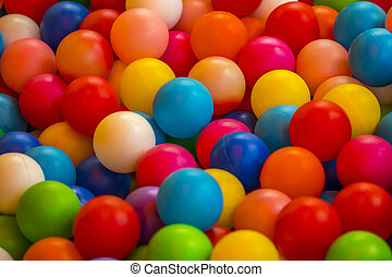 vakantie, de partij van kinderen, een, spelen kamer, een, doosje, gevulde, met, kleine, gekleurde, gelul