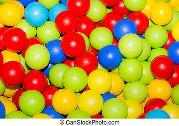 vakantie, de partij van kinderen, spelen kamer, een, doosje, gevulde, met, kleine, gekleurde, gelul