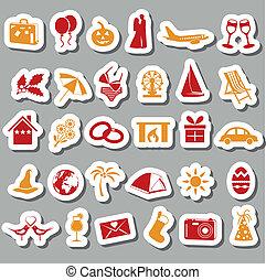 vakantie, en, evenementen, stickers