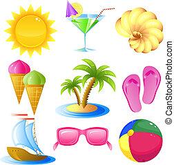 vakantie, en, reizen, pictogram, set