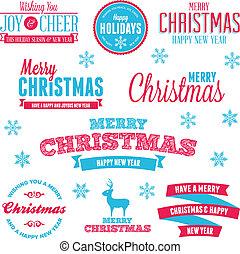 vakantie, etiketten, kerstmis